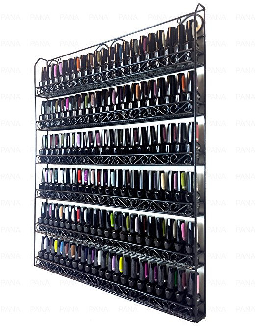 Pana Black 6 Tier Large Wall Mounted Metal Rack Nail Polish Rack